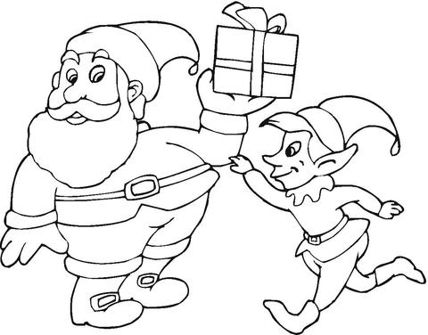 Santa-and-elf-coloring-page
